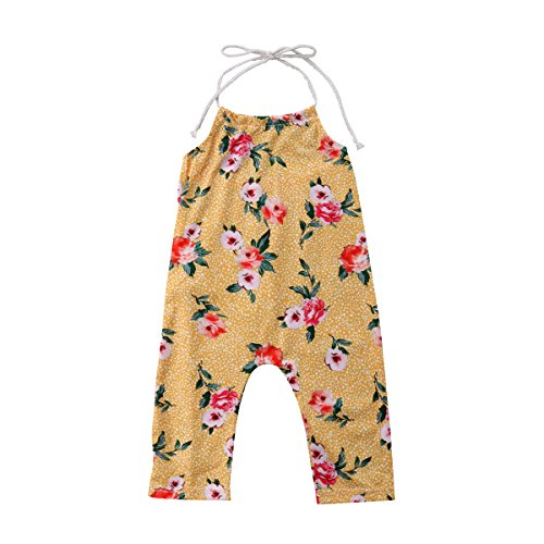Aliven Newborn Kids Baby Girls Floral Strap Halter Bodysuit Romper Jumpsuit Outfits Sunsuit Clothing (3-4 Years, Peach Blossom)