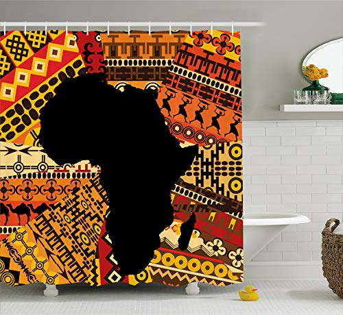 (Ambesonne African Decor Shower Curtain by, Abstract Art Style Africa Map on Ethnic Carpet Background Illustration, Fabric Bathroom Decor Set with Hooks, 70 Inches, Black and Orange )