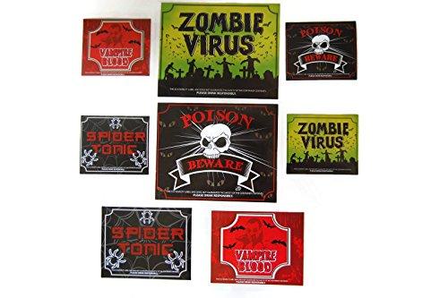 ty Beer Wine Water Soda Bottle Stickers, Multiple Sizes, Zombie, Poison, Vampire (Halloween Wine Bottle)