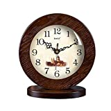 HAOFAY clock - Vintage Retro Mantel/European Modern Solid Wood Country Quiet Quartz Clock Desk and Shelf Clock