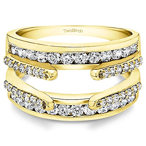 Ring Guards Yellow Jewelry - TwoBirch Yellow Sterling Silver Combination Cathedral and Classic Ring Guard with Cubic Zirconia (1.04 ct. tw.) (size 6)
