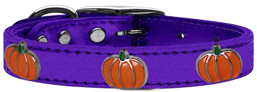 Mirage Pet Products 83-115 PrM12 Pumpkin Widget Genuine Metallic Leather Dog Collar, Size 12, Purple