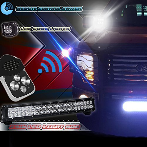 TURBOSII 23IN-144W-WIRING-RM LED Light Bar Flood and Spot Combo Beam Work Light for Van Camper Wagon Pickup Atv Ute Suv Boat 4 x 4 Jeep Off-road Plus Wiring Harness Kit Plus Remote Control Wiring Kit (Chevrolet Rear 1500 Silverado Bumper)