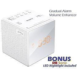 Sony Gradual Alarm Clock with AM/FM Radio, Sleep Timer, Extendable Snooze, Radio Buzzer Alarm Sound, Large LCD Display, Brightness Control, Speaker & Battery Back-Up - White + DB Sonic Nightlight