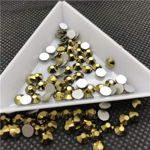 Calvas ss30 ss34 Glass Crystal Non Hotfix Nail Art Rhinestone 2028 Flatbacks Glue On 3D Nail Jewelry 2088 Cut Facets - (Color: Gold Hematite, Item Diameter: 34ss 288pcs)