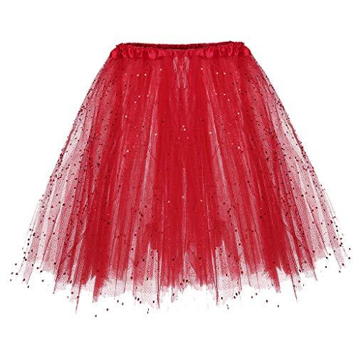 Womens Tutu Skirts Elastic 3 Layered Short Skirt Adult Tutu Dancing Skirt Tulle Skirts Multiple Colour (Free, Red) -