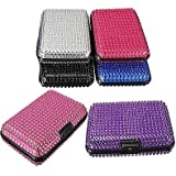Artificial Crystal Pocket Business Id Credit Card Holder Case Wallet Aluminum (Purple)