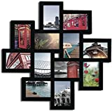 Decorative Black Wood Wall Hanging Collage Puzzle Picture Photo Frame, 12 Openings, 4x6 inches