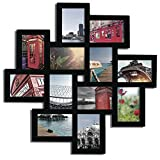 pic frame wall - Decorative Black Wood Wall Hanging Collage Puzzle Picture Photo Frame, 12 Openings, 4x6 inches
