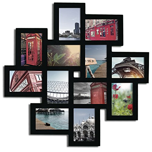 - Adeco Decorative Black Wood Wall Hanging Collage Puzzle Picture Photo Frame, 12 Openings, 4x6 inches