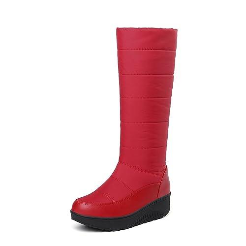 wetkiss Botas térmicas de Invierno para Mujer con Plataforma de algodón y Piel de Bota de Nieve, Botas de Mujer