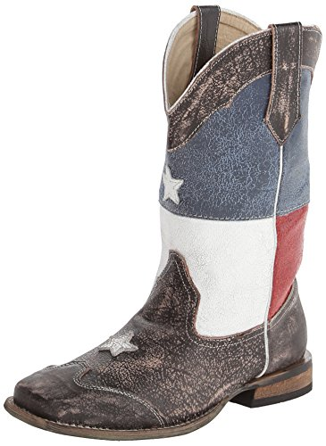 Roper Texas Star Square Toe Cowboy Boot (Toddler/Little Kid), Brown, 11 M US Little Kid ()