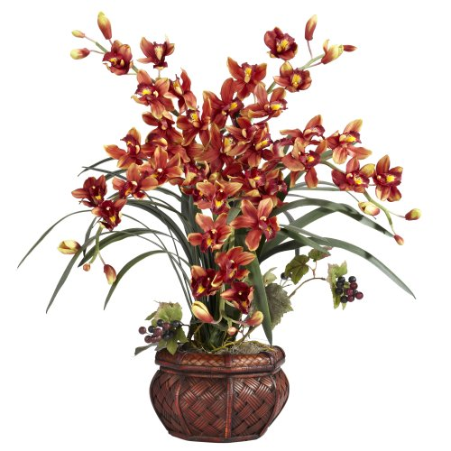 nearly natural 1245 br cymbidium with decorative vase silk arrangement burgundy - Decorative Flowers