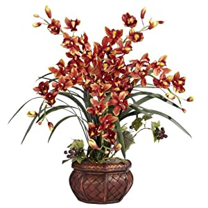 Nearly Natural Cymbidium with Decorative Vase Silk Arrangement 52