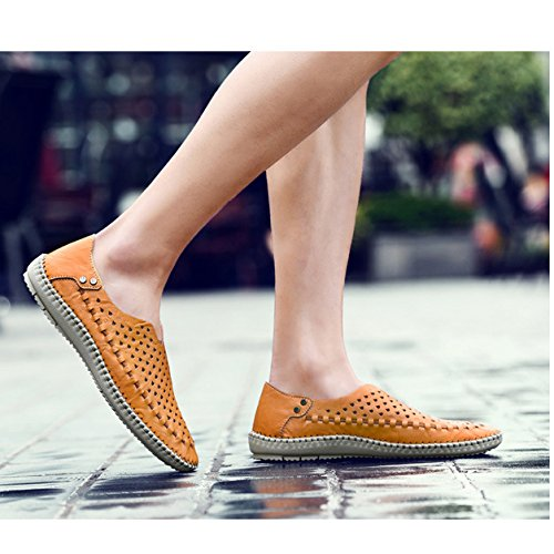 Pelle Fashion Gli In Slip Sandali Traspiranti Per Mocassini Scarpe Estivi On Uomini Yellow Slipper Casual Hope Mocassini w8COqgA