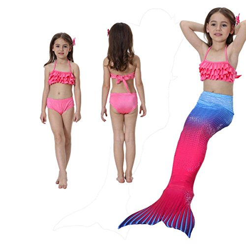 Osmanluer 3PCS Girls Swimmable Mermaid Tail Princess Cosplay Costume for 3-12 Years (Color6, (Swimming Costumes For 9 Year Olds)