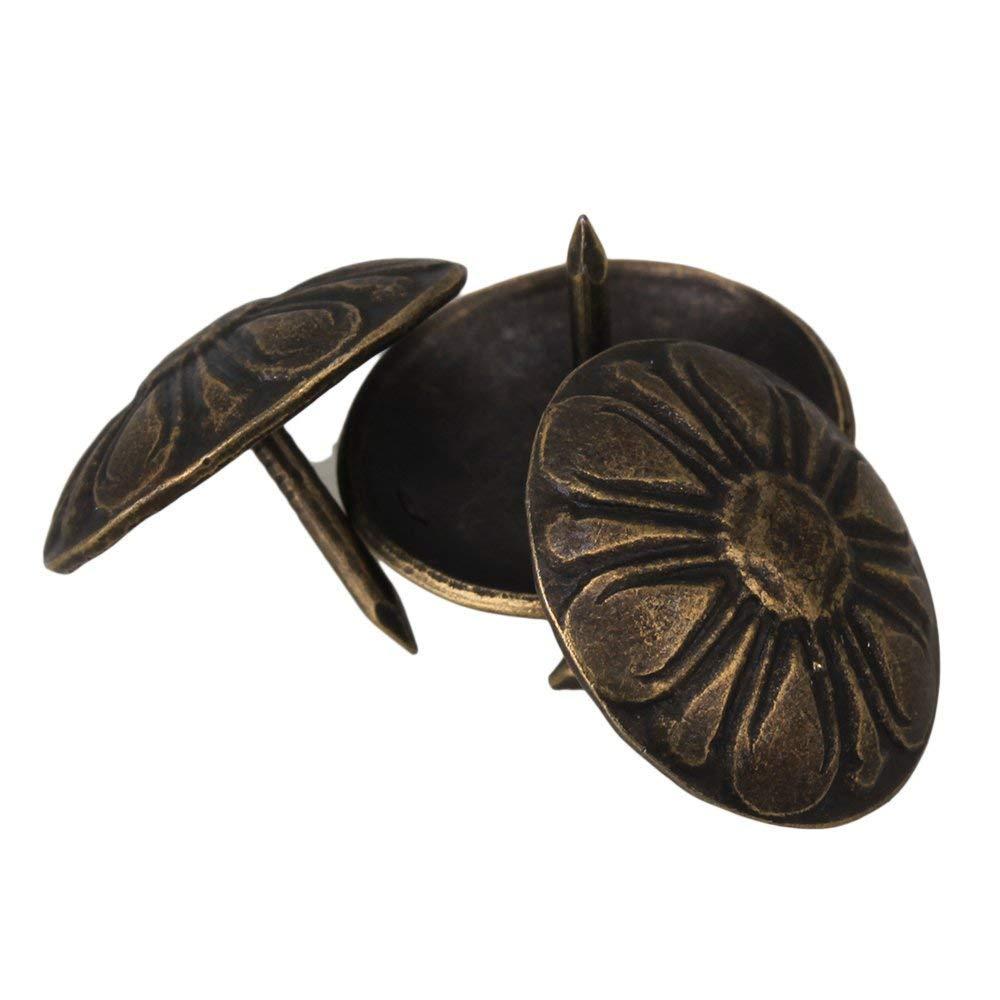 100 Pcs Daisy Upholstery Nails Antique Bronze Furniture Decorative Tacks 19mm x 15mm