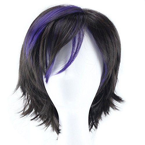 Anogol Hair Cap+Short Black with Purple Wig