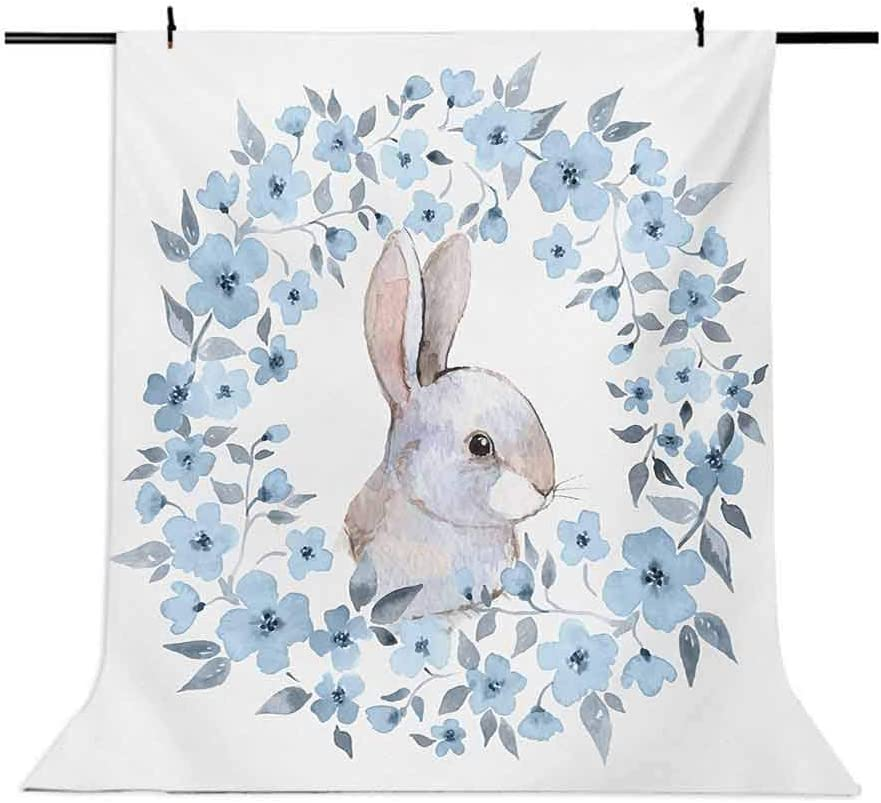 Watercolor Flower 8x10 FT Photo Backdrops,Bunny Rabbit Portrait in Floral Wreath Illustration Country Style Background for Baby Birthday Party Wedding Vinyl Studio Props Photography Blue Grey White