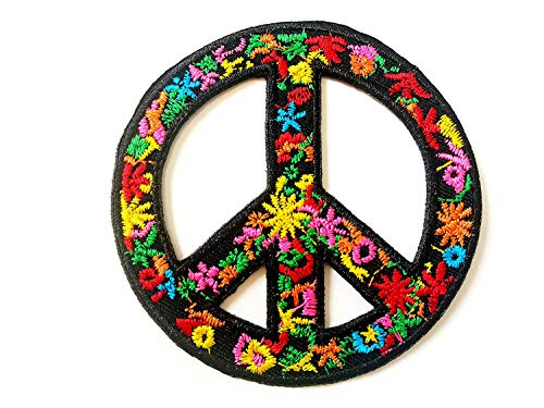 (Tyga_Thai Brand Flower Peace Sign Biker Love Wood Stock Peace Logo Applique Embroidered Sew on Iron on Patch for Backpacks Jeans Jackets Clothing etc. (Iron-Flower-Peace-Sign))