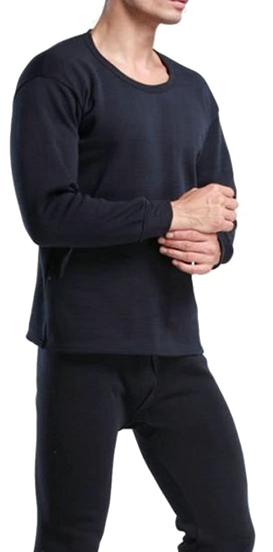 P& E Mens Warm Thicken Fleece Lined Crewneck Thermal Underwear Set