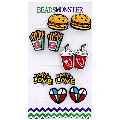 Clipart Cartoon Cute Fast Food Style Clip On Earrings for Girls Womens Gift Set, Pack of 5 Pairs