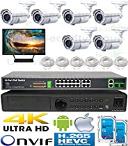 USG H.265 Sony DSP 5MP Ultra 4K 6 Camera Security System PoE IP CCTV Kit : 6x 5MP IP PoE 2.8-12mm Lens Bullet Camera + 1x 5MP 24 Channel NVR + 2x 4TB HDD + LCD + 6x 100ft Cat6 : View Remotely