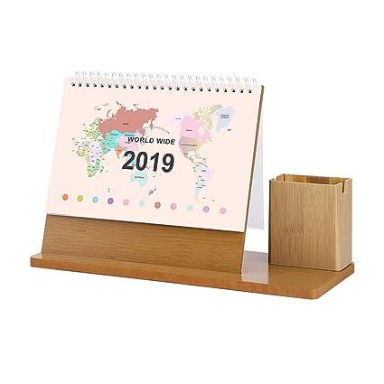 Calendario de madera simple y fresco, Kawaii 2019 ...