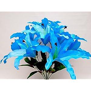 """Phoenix Silk Tiger Lily Bush Satin 9 Artificial Flowers 18"""" Bouquet 1007 BLUE TURQUOISE 58"""