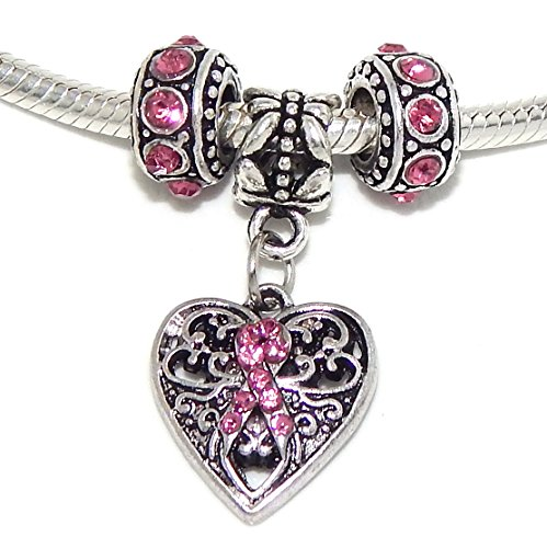 Jewelry Monster -Set of 3- Pink Breast Cancer Awareness Collection Charm Beads ()