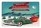 Ambesonne Christmas Pet Mat for Food and Water, Santa Claus in a Classic Car with Bag of Toys Snow Winter Starry Night New Year, Rectangle Non-Slip Rubber Mat for Dogs and Cats, Teal Red