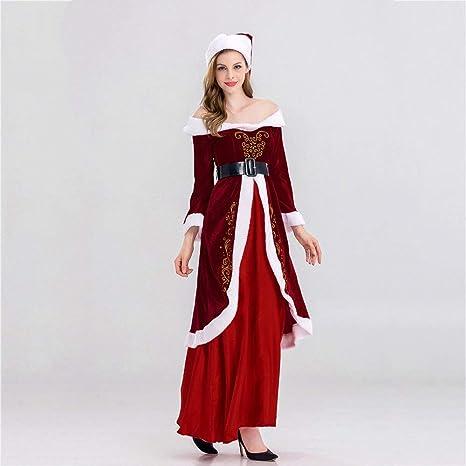 Yunfeng Disfraces de Papá Noel para Mujer Uniforme del Traje ...