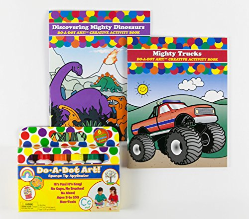 Value Book Truck - Do A Dot Art! Coloring Book Bundle- 6-Pack Rainbow Washable Markers-2 Coloring Activity Books- Mighty Trucks & Discovering Mighty Dinosaurs-Value Pack