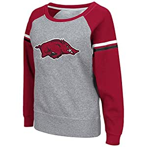 Colosseum Womens Arkansas Boat Neck Raglan Pullover, 2X-Large