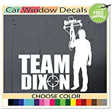 (White) Team Dixon The Walking Dead Zombie Daryl Dixon Supporter Sticker Decal Car Window Laptop Skin Choose Color!