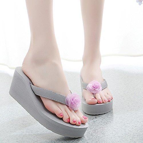 FEIFEI Sandalias de las mujeres del verano del dedo del pie del dedo del pie sandalias romanas Flores de la manera de espesor inferior zapatillas zapatillas de playa antideslizantes Bohemia 7CM ( Colo A