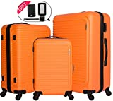 cheergo Luggage 3 Piece Set Suitcase ABS Material PC Hardside 20 24 28 Spinner Orange