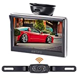 AMTIFO HD Wireless Backup Camera with 5 Inch Monitor License Plate Camera for Cars,SUVs,Minivans,Parking Camera Crystal Clear Image IP69 Waterproof Super Night Vision - AM-W50