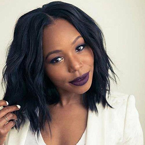 YOPO Bob Wavy Wig Short Black Hair Wigs No Bangs Shoulder Length Middle Part Wigs Natural Looking Fluffy Wig for Black Women with Wig Cap(Short Natural Black Wavy) (Best Hair For Quick Weave Bob)