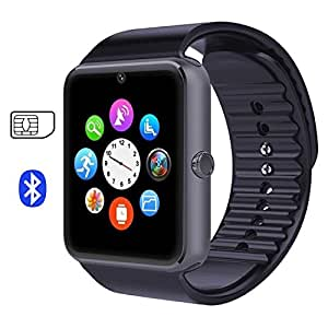 007plus GT08 Bluetooth Smart Watch with Cell Phone Mate For Android (Full functions) Samsung S5 S6 Note 4 Note 5 HTC Sony LG and iPhone 5 5S 6 6 Plus (Partial functions)-Charcoal Grey