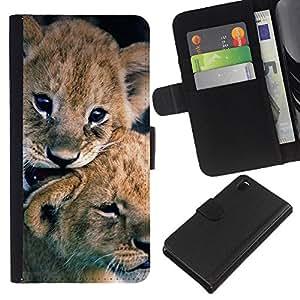 EJOY---La carpeta del tirón la caja de cuero de alta calidad de la PU Caso protector / Sony Xperia Z3 D6603 / --cachorro de león cachorro pieles naturaleza animal del bebé