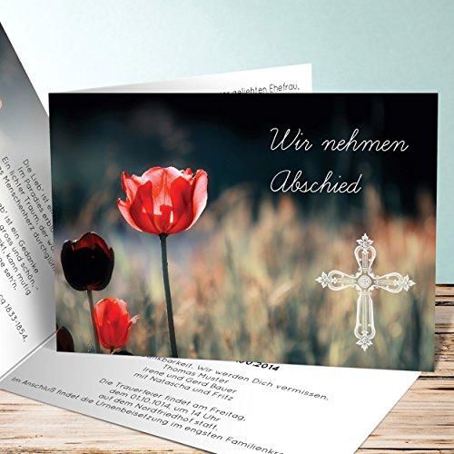 Trauerkarten Design, Mohnblume 20 Karten, Horizontale Klappkarte 148x105 inkl. weiße Umschläge, Grau