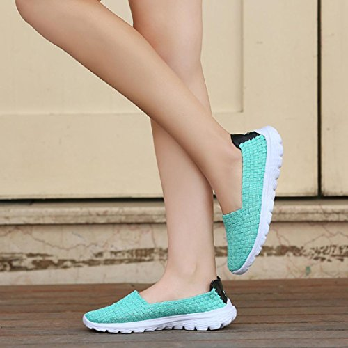 wuayi Women Casual Flats Loafers Woven Mesh Breathable Light Weight Elastic Comfort Slip On Sport Water Shoes Mint Green 39RJJJjQ