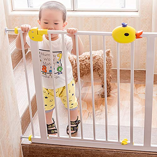 FF Pet Baby Gate White Baby Gates with Walk-Thru Door, Wall Protector Sturdy Pet Gate for Stair Doorway Entry, Optional Width 75-194cm, Easy to Operate (Size : 85-94cm)