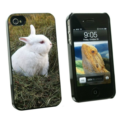 Graphics and More Bunny Rabbit White - Easter - Snap On Hard Protective Case for Apple iPhone 4 4S - Black - Carrying Case - Non-Retail Packaging - Black