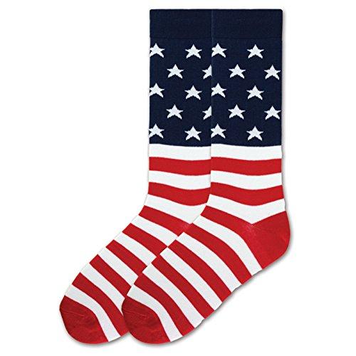K. Bell Men's Classics Novelty Crew Socks, American Flag (Red/White/Blue), Shoe Size: ()