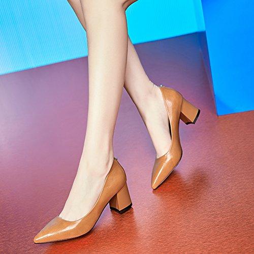 Hoxekle Donna Sexy Scarpe Da Donna Tacco Medio In Pelle Primavera Moda Nuove Scarpe Marrone