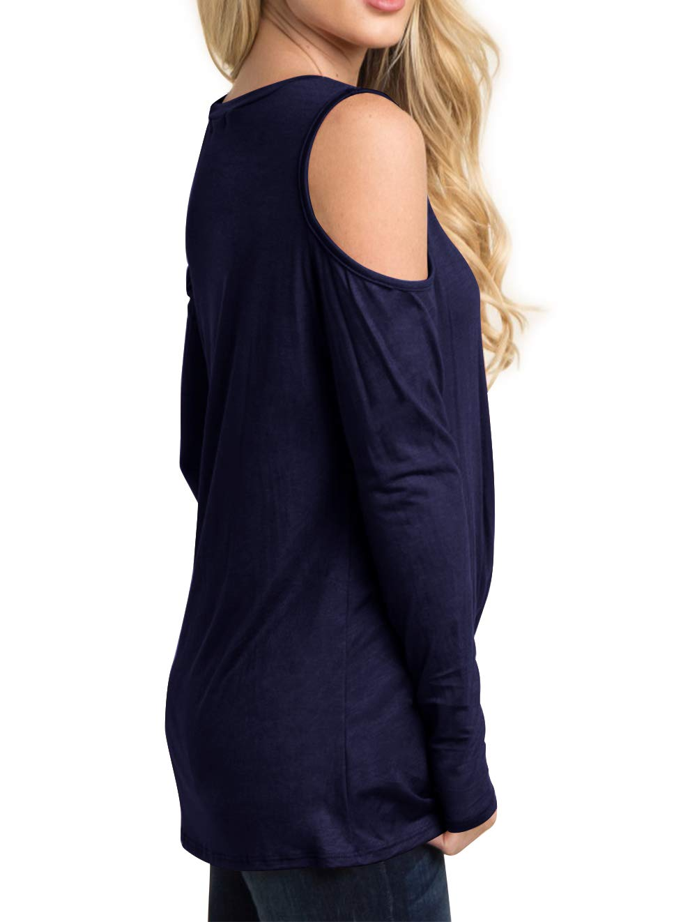 Eanklosco Women's Long Sleeve Cold Shoulder Cut Out T Shirts Casual Knot Tunic Tops (Navy Blue, XL)