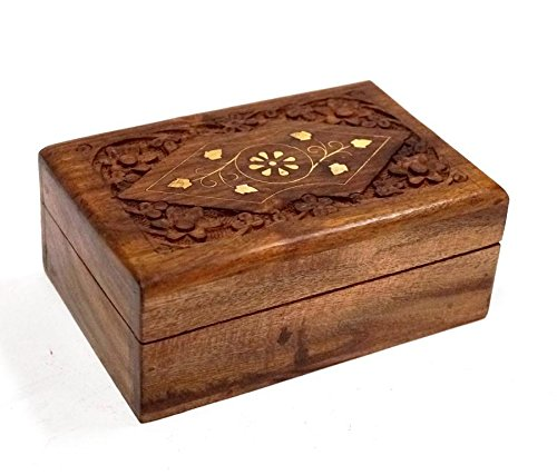 """Latest Hand-carved Wooden Storage Box 6/"""" x 4/"""" Inlaid With Solid Brass"""