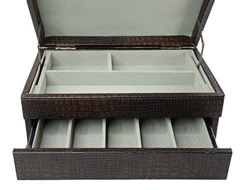Top Quality Men's Black Leather Jewelry Box And Valet Storage Box Organizer by Bombay Brand (Image #3)